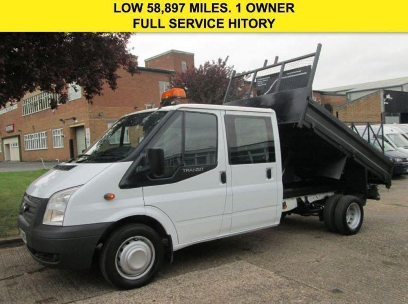 2014 63 FORD TRANSIT 2.2 T350 TIPPER DOUBLE CAB 6 SEATS. DROPSIDE. ONLY 58K. FSH