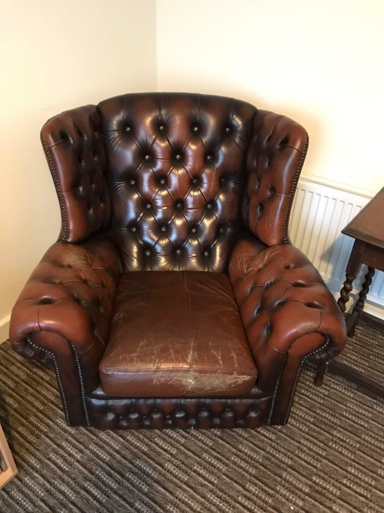 Pegasus leather chesterfield sofa and 2 armchairs