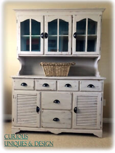 Uniquely Painted Farm Style Cabinet and Hutch