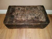 Antique ammunition wooden box chest coffee table