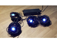 Set of 4 blue LED deck lights with multisocket for up to 10 lights.