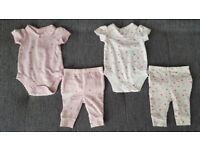 Baby girl set of floral vests and trousers size:0-3