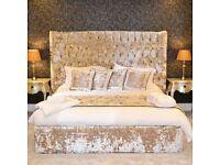 Marseille crushed velvet bed