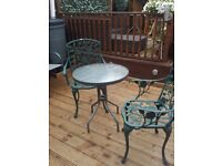 GARDEN TABLE PLUS 2 CAST IRON ROSE CHAIRS