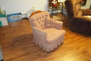 Living Room Chair With Pillow & Two Arm Covers.