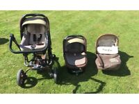 Jane Trider Travel System with isofix base, carry cot, car seat, pushchair and additional extras.