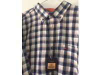 Men's 3xl Oakman Blue/ White Checked Short Sleeve Shirt brand new from smoke & pet free home