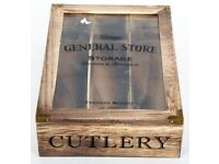 General Store Cutlery Wooden Tray