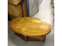 USED COFFEE TABLE SOLID WOOD WITH STONE INSERTS AS PATTERN