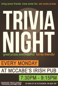 Looking To Put A Trivia Team Together For Monday Nights