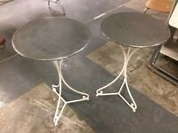 2 zinc garden top tables