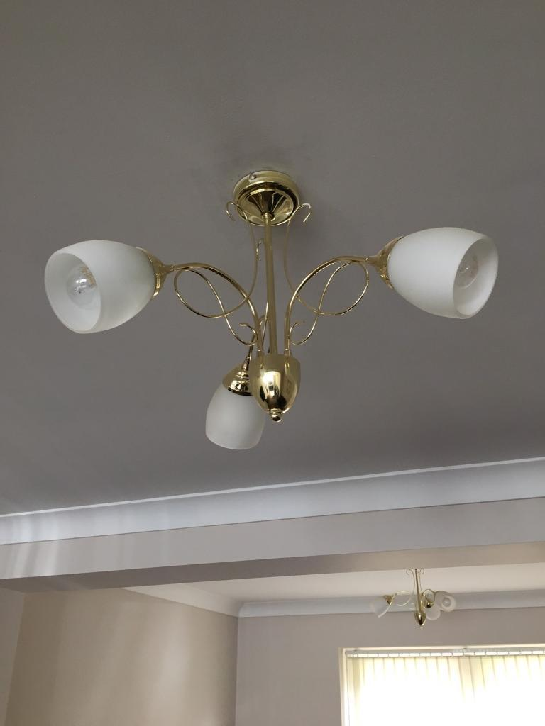 Brass Indoor 3 Bulb Ceiling Light
