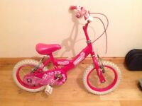 Girls 14inch bike in good condition with detachable baby seat bad stabilisers