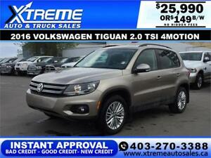 2016 Volkswagen Tiguan 2.0 TSI AWD $149 b/w APPLY NOW DRIVE NOW