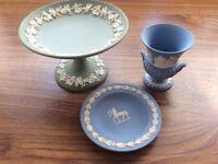 Wedgewood Jasper Wear 3 Pieces Green Compote, Blue Urn & Dish