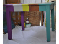 Gorgeous wooden coffee table in stunning stripe colours