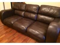 Brown Leather 3 Seater John Lewis Sofa WILL DELIVER