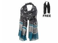 Moroccan Voile Scarf (w/FREE Plain Scarf) (NEW)