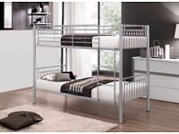 STRONG AND STYLISH !! BRAND NEW SINGLE METAL BUNK BED WITH CHOICE OF MATTRESSES