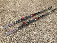 3 pairs retro alpine skis (including 2 pairs poles and bag)