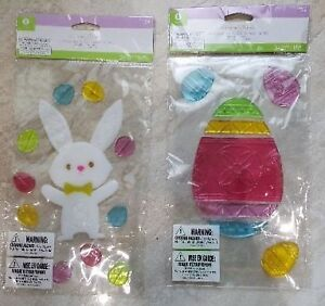 Easter Bunny & Eggs Gel Window Clings BRAND NEW