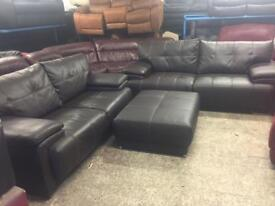 2 and 3 seater leather brown sofas with footstall