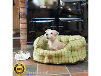2 x Dog beds, 'House of Paws' brand in excellent condition green tweed dog beds for sale.