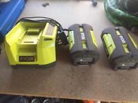 Ryobi 36v charger and 2 batteries