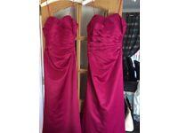 Fushia pink bridesmaids dresses and shoes.