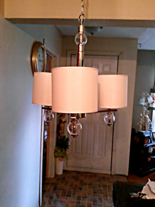 New 3 light fabric and glass Chandelier