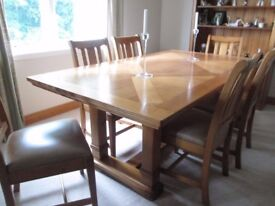 Solid Oak Dining Table and Six Leather Seated Chairs