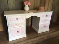 Upcycled Vintage Painted Shabby Chic Desk Dressing Table Complete with Coordinating Chair