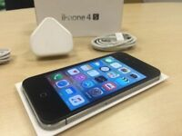 Boxed Black Apple iPhone 4S 8GB Mobile Phone on ee / t mobile / virgin + Warranty