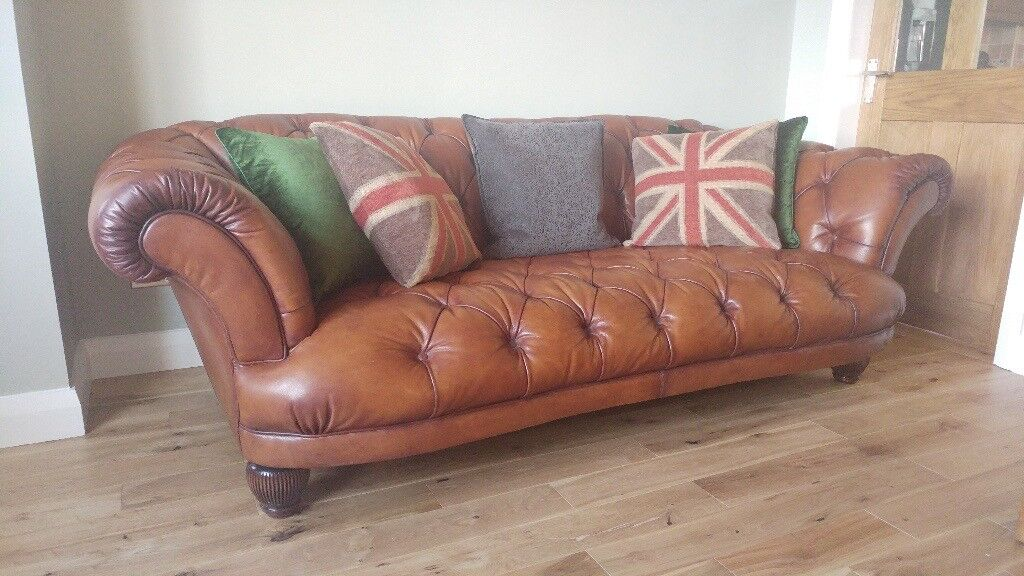 'Oskar' large leather tan Chesterfield sofa PLUS two matching wing chairs Very good condition