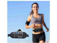 Lightweight Fit Running / Jogging / Hiking Belt with 2 Zipped Pockets - Takes iPhone & More -