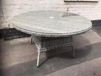 Large Round Grey Rattan Garden Table With Glass Top