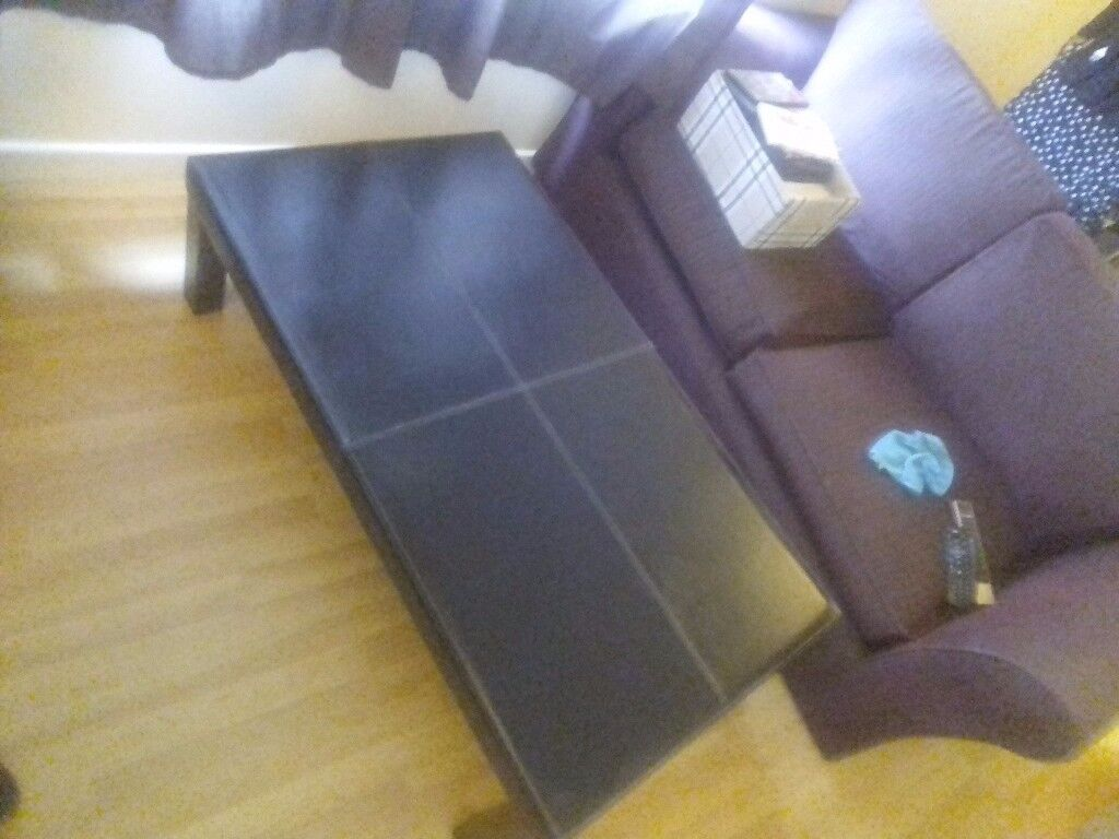 Black faux leather coffee table