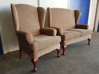 HIGH BACK QUEEN ANNE SUITE 2 SEATER SETTEE LOVESEAT SOFA & ARMCHAIR WINGBACK WINGS SET CAN DELIVER