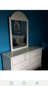 Dresser with mirror and bed frame $225