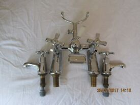Traditional chrome bath mixer/shower (no shower hose or head) taps with matching basin taps