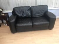 Black leather deep cushioned sofa - bargain £95