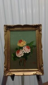 Old Framed Small Size Oil Painting,flowers,signed