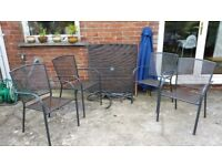 Garden table 4 chairs and blue parasol grey steel metal mesh