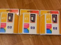 3x HP inkjet print cartridge tri-colour