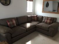 Brown corner sofa with built in sofa bed