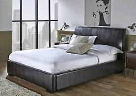 Faux leather king size ottoman bed