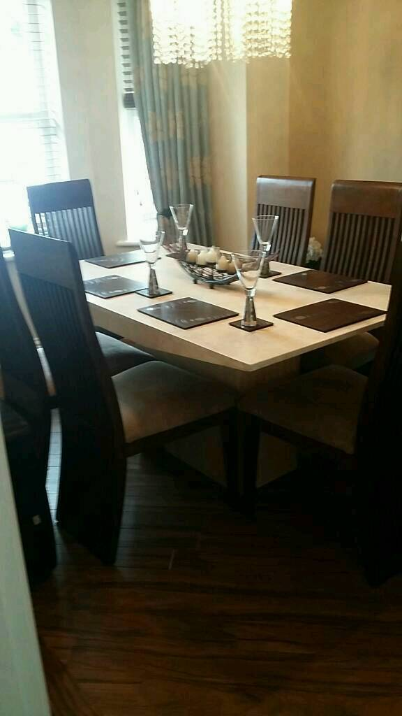 Dining Room Furniturein Handforth, CheshireGumtree - Marble 6 seater dining table6 chairsMatching sideboard1 chair seat with marks ( easily recovered )