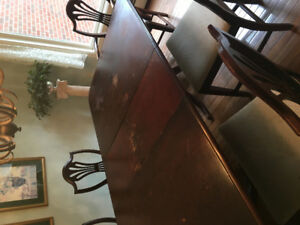 Title; Mahogany Dining Room Table with 6 chairs