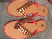 Coral River Island Flip Flops