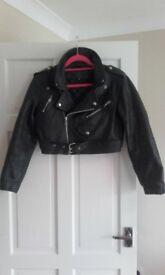 vintage ladies black leather jacket